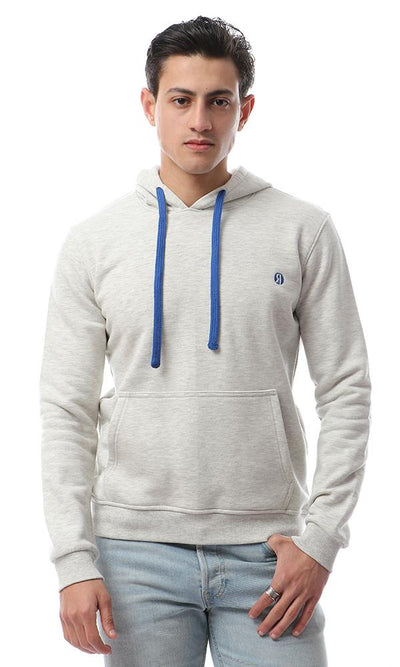 55994 Casual Sweatshirt With Kangaroo Pocket- Heather Off White - Ravin
