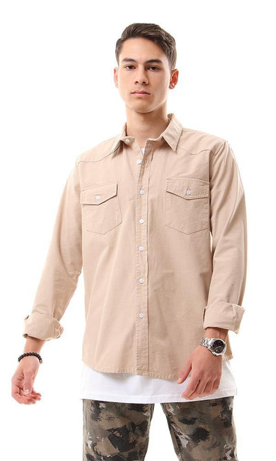 56013 Front Patch Pockets Beige Long Sleeve Shirt - Ravin
