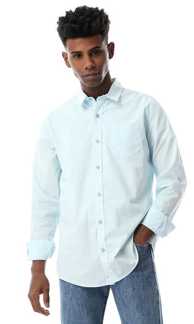 56021 Long Sleeves Buttoned Light Baby Blue Shirt