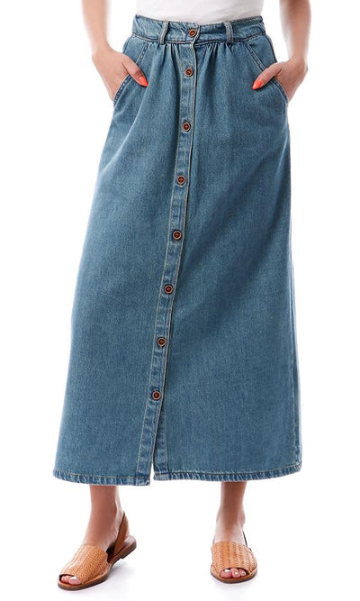 56034 Middle Buttons Down Maxi Denim Skirt - Greenish Blue - Ravin