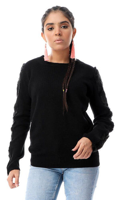 56094 Knitted Pullover With Fur Long Sleeves Touch - Black - Ravin