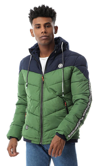 56108 Adjustable Hooded Bomber Bi-tone Zipped Jacket - Green & Navy Blue - Ravin