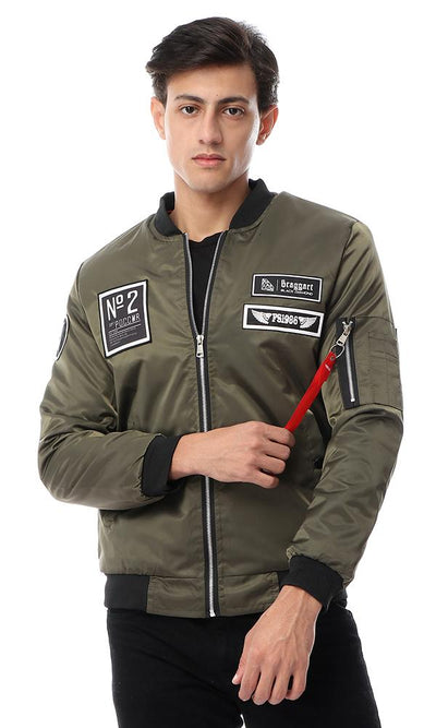 56118 Round Neck Waterproof Army Green Jacket With Patches - Ravin