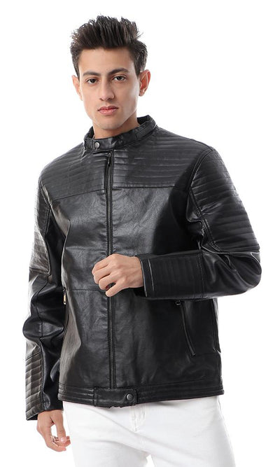 56122 Stitched Zipped Band Neck Black Leather Jacket - Ravin