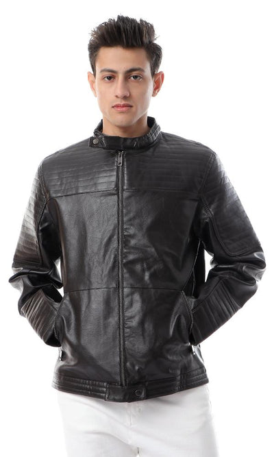 56123 Band Neck Trendy Dark Brown Leather Jacket - Ravin