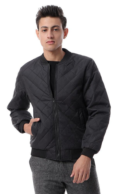 56124 Basic Zipped Black Casual Jacket - Ravin