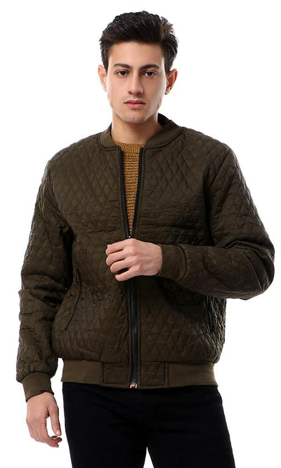 56125 Round Neck Dark Army Green Quilted Jacket With Hem - Ravin