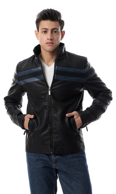 56128 Stripe Zipped Casual Blue Leather Jacket - Ravin
