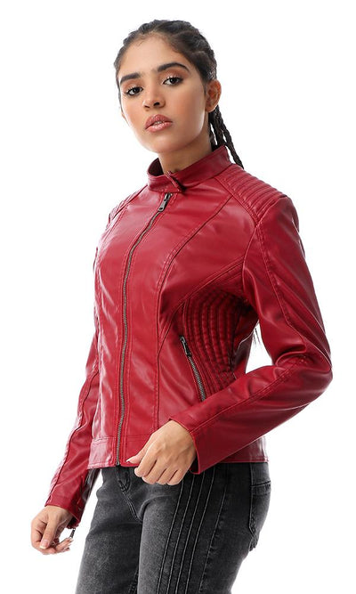 56136 Burgundy Band Neck With Press Button Leather Jacket - Ravin