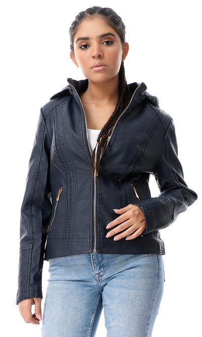 56138 Textured Leather Navy Blue Hooded Jacket - Ravin
