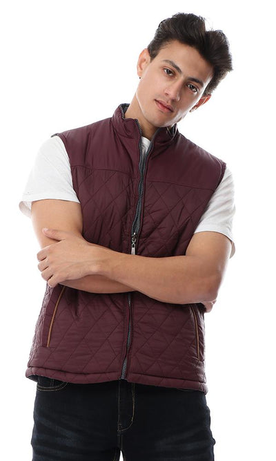 56141 Double Face Sleeveless Waterproof Maroon & Heather Dark Grey Vest - Ravin