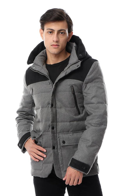56142 Bi-Tone Hooded Buttoned Dark Grey & Black Jacket - Ravin