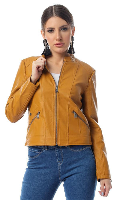 56151 Textured Leather With Stitched Shoulders Camel Jacket - Ravin