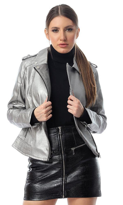 56153 Shiny Textured Leather Jacket With Zipped Pockets - Silver - Ravin