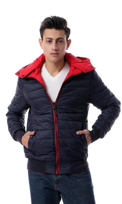 56157 Cool Double Face Waterproof Jacket - Navy Blue & Red - Ravin