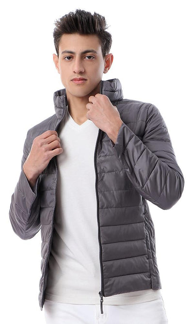 56164 High Neck Waterproof Casual Grey Jacket - Ravin