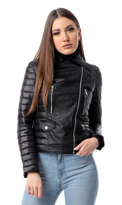 56174 Textured Leather With Bomber Sleeves Jacket - Black - Ravin