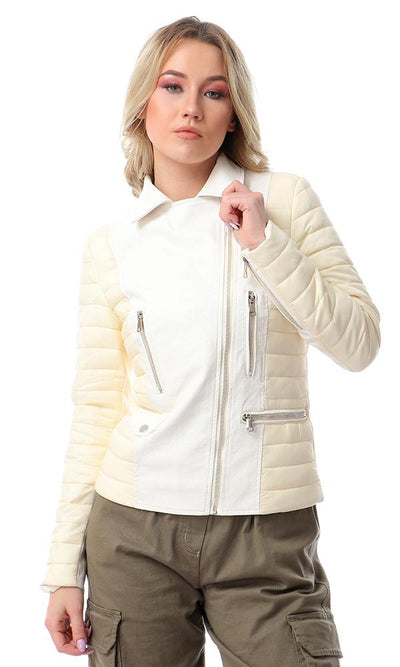 56175 Side Zipper Leather With Puffer Sleeves Jacket - White & Beige - Ravin