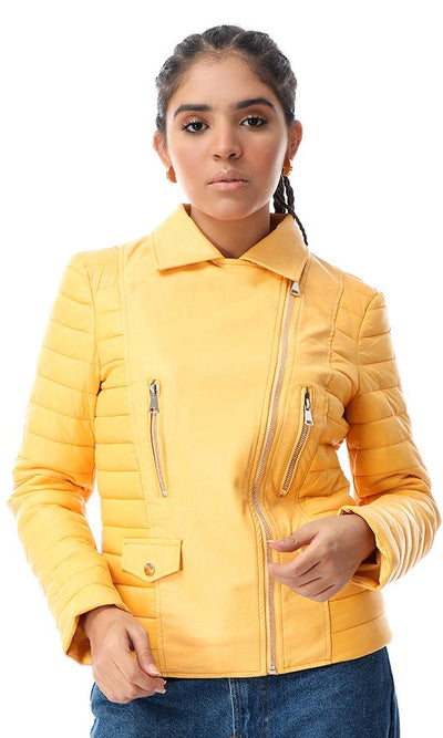 56177 Yolk Yellow Jacket Textured Leather With Puffer Touch - Ravin