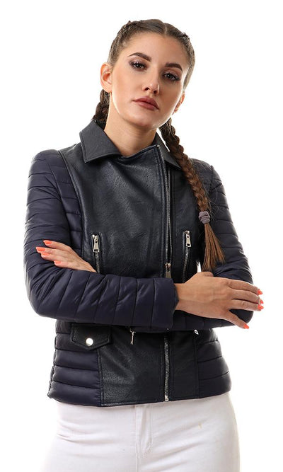 56182 Navy Blue Textured Leather Jacket With Puffer Sleeves - Ravin
