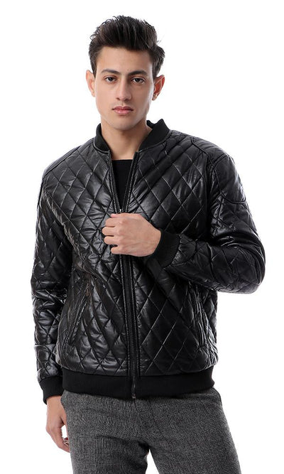 56187 Stitched Casual Black Leather Jacket - Ravin