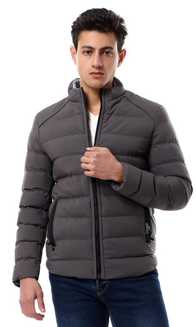 56203 Zipper Through Neck Solid Dark Grey Puffer Jacket - Ravin