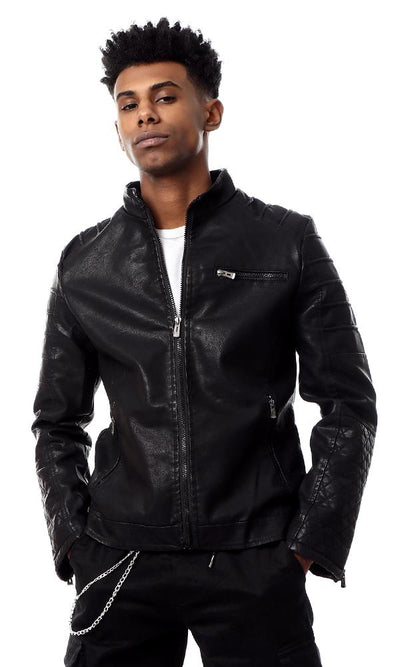 56205 Black Coziness Leather Jacket Winter Design - Ravin