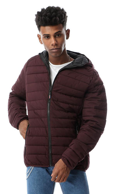 56209 Hooded Quilted Side Zipped Pockets Maroon Jacket - Ravin