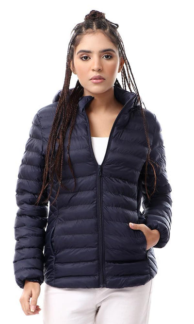 56219 Self Slub Navy Blue Coziness Zipped Puffer Jacket - Ravin