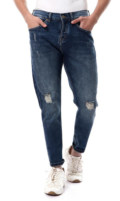 56223 Buttoned Dark Blue Jeans With Front Ripped