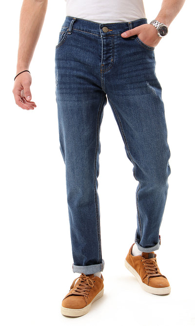 56224 Dark Blue Jeans Casual Solid Jeans With Five Pockets