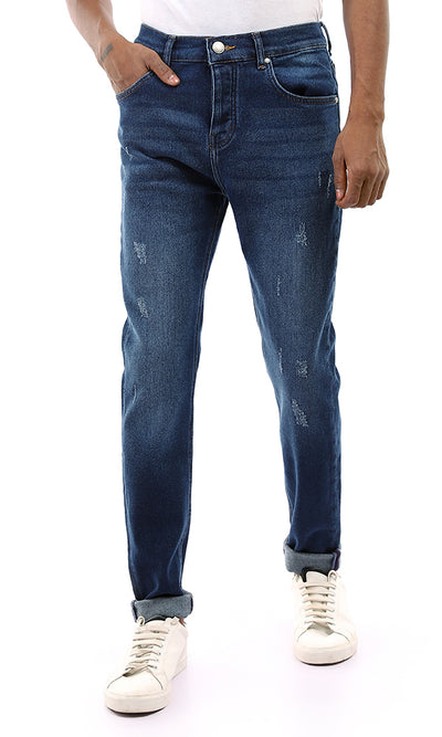 56225 Front Scratches With Light Wash Buttoned Dark Blue Jeans