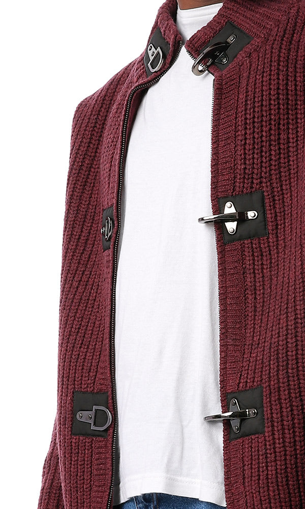 56237 Chunky Knit Zipped Maroon Sweater
