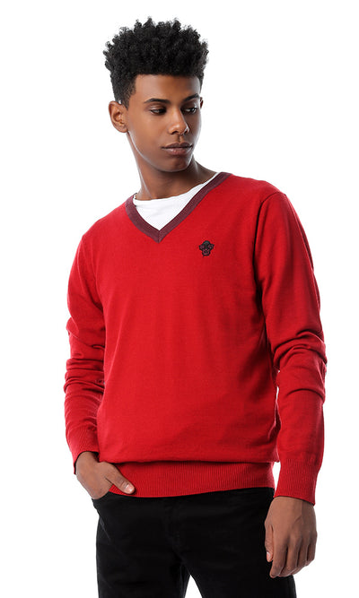 56244 Patch Sleeves V-Neck Red Pullover