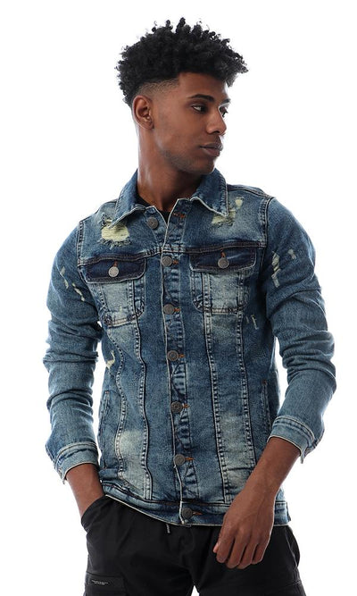 56260 Ripped And Scrated Buttoned Washed Blue Denium Jacket - Ravin