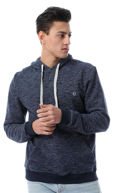 56261 Heather Navy Blue Sweatshirt With Kangaroo Pocket - Ravin