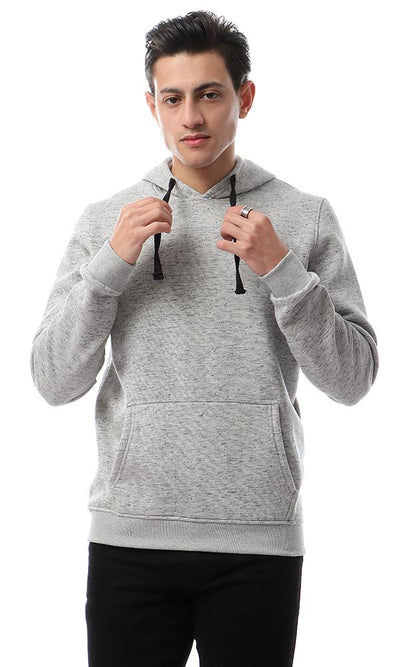 56262 Comfy Sweatshirt With Cangro Pocket - Heather Light Grey - Ravin