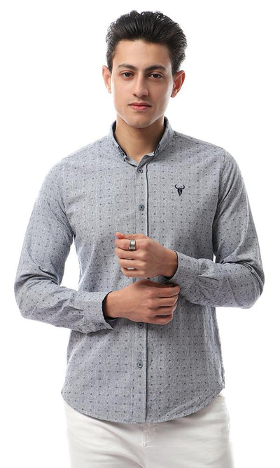 56279 Stitched Casual Full Sleeves Shirt - Light Grey - Ravin