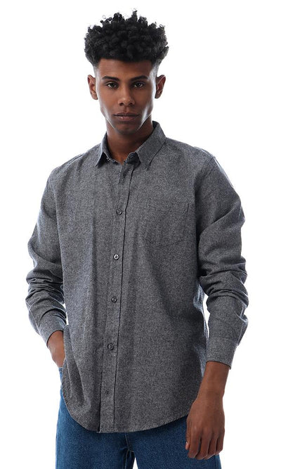 56281 Gorgeous Heather Grey Buttoned Full Sleeves Shirt - Ravin