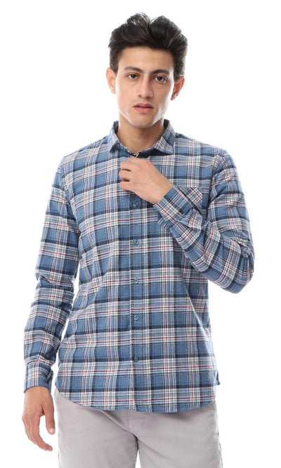 56284 Plaids With Front Pocket Dusty Blue Winter Shirt