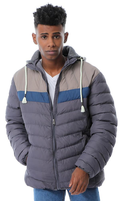 56288 Hooded Neck With Drawstring Dark Grey Puffer Jacket - Ravin