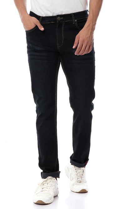 Slim Fit Jeans With Five Pockets - Blue Black