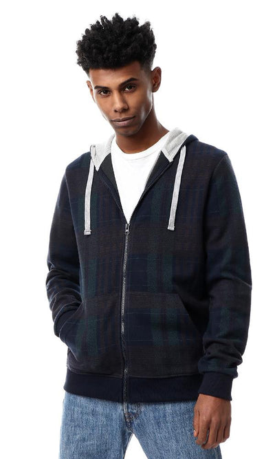 56319 Tartan Sweatshirt With Different Hooded Neck - Navy Blue & Green - Ravin