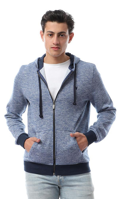 56322 Heather Blue Casual Hooded Sweatshirt - Ravin