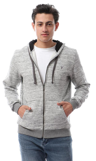 56323 Soft Comfy Hooded Zipped Heather Grey Hoodie