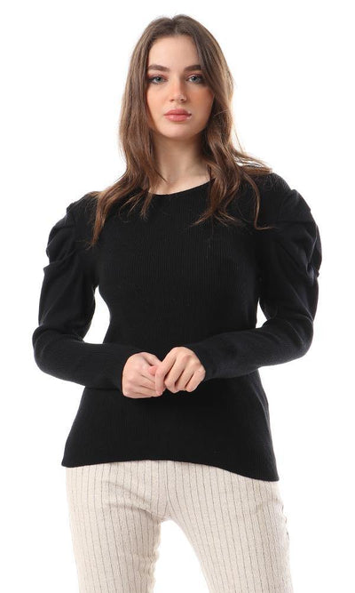 56324 Slip On Puff Sleeves Pullover - Black