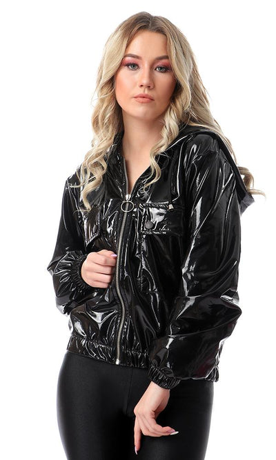 56330 Patent Leather Jacket With Front Pockets - Black - Ravin