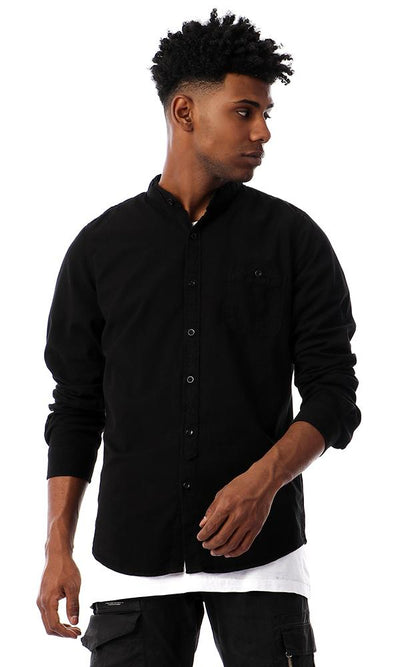 56343 Elegant Long Sleeves Buttoned Shirt - Black - Ravin