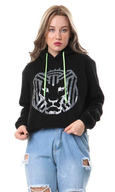 56344 Cairokee Cropped Hoodie With Raw Edge - Black - Ravin