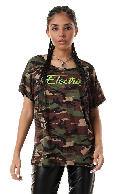 56519 Printed Elecrtric Army Pattern Multicolour Tee - Ravin